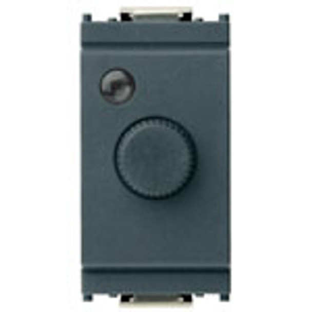 A dark grey Rectangle switch. A round grey knob in the center. A small circle light on top left. On a white background