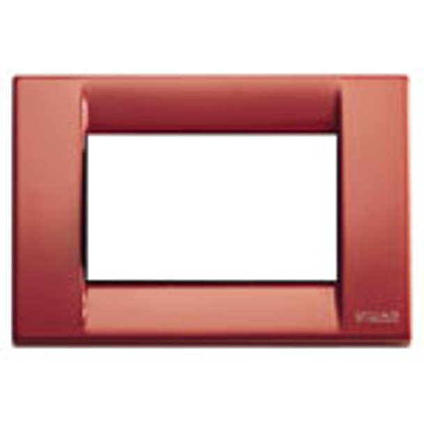 A rusty red colored square cover plate. a white square middle. on a white background