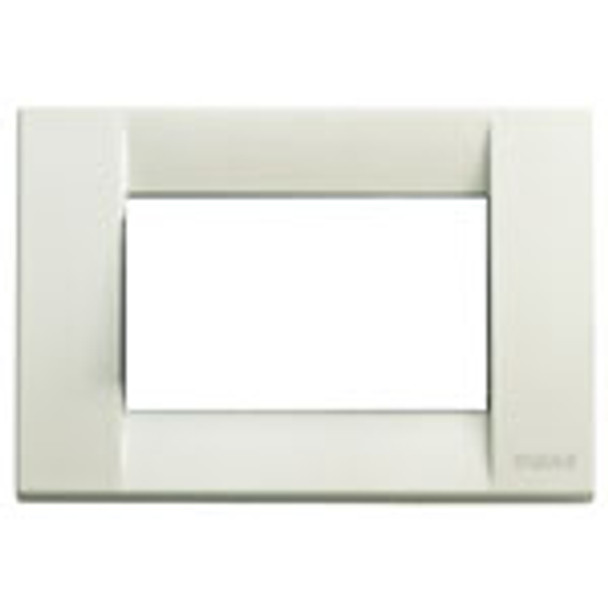 An ivory colored Idea plate cover. Square. White center with a with background