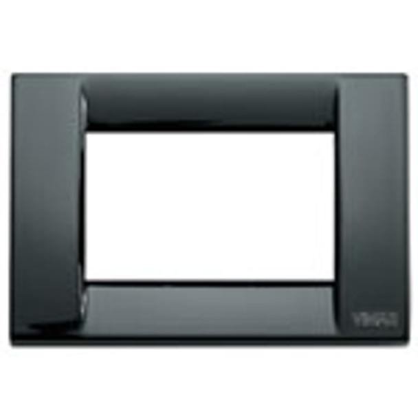 A black square Idea classica  cover plate. a slight shine. white middle center. on a white background