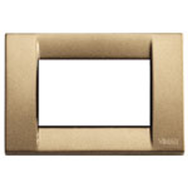 A Metallized bronze cover plate. square. white square inside on a white background