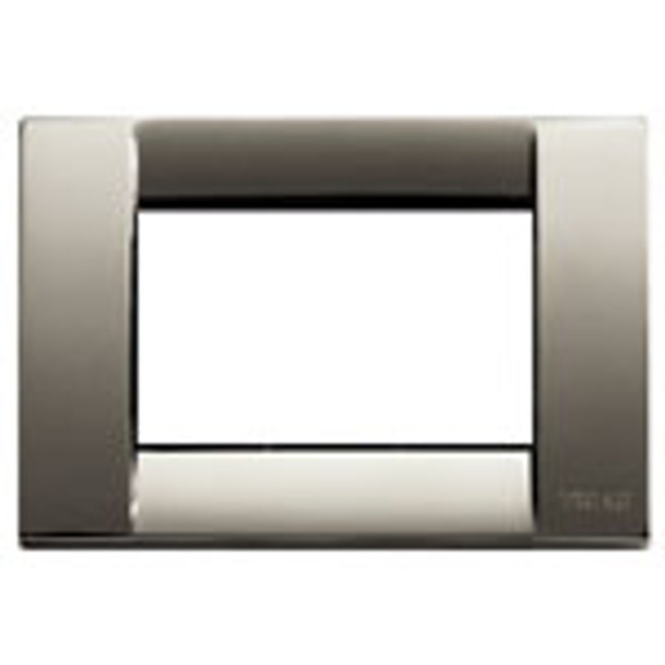 Black chrome plated cover. Square. white empty inside. On a white background