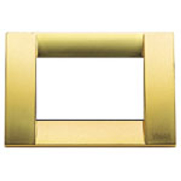 A shiny gold square idea cover plate. White empty center. Ona white background.