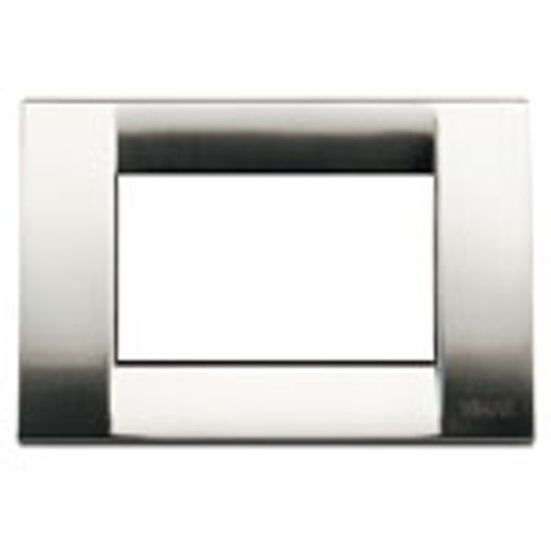 A shiny brushed nickel square cover plate. On a white background