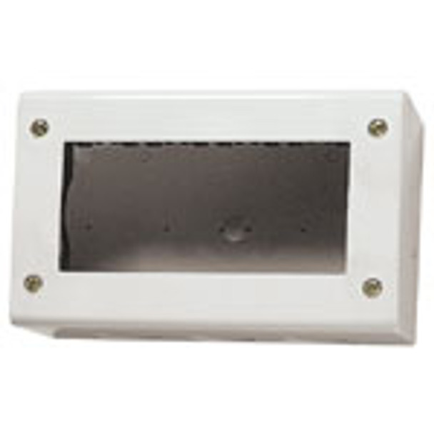 White IP40 Enclosure surface mount switch. Rectangle. Deep inside on a white background.
