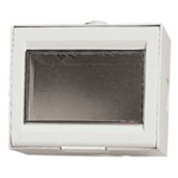 A think white square box. front opens. Clear square lens . On a white background