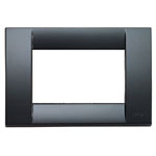 A Black square cover Idea Classica cover plate. Light shine. Hollow inside on a white background