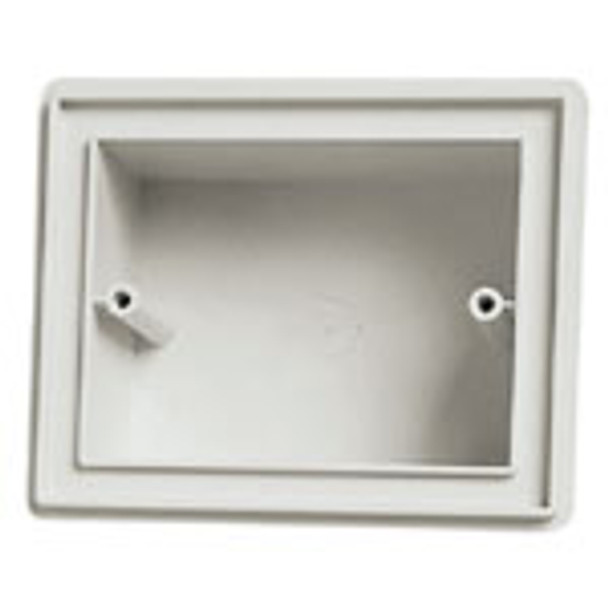 A Grey IP55 Flush Box. Square with two holes on each side for screws on a white background