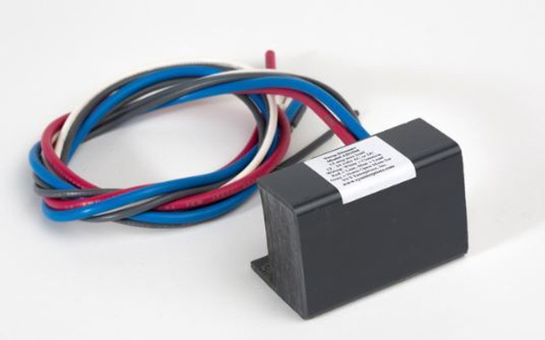 A black Versa Dimmer with the wires coming out  in Red white and blue on a light grey background