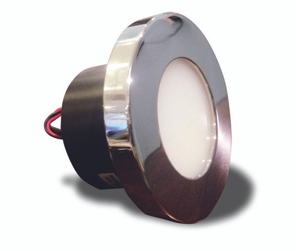 A shiny mirror polished Alian 90mm marine light. Foggy round lens. Black round back with wires. On a white background