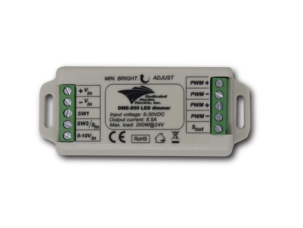 A Universal LED Dimmer. Grey and green. Long rectangle on a white background
