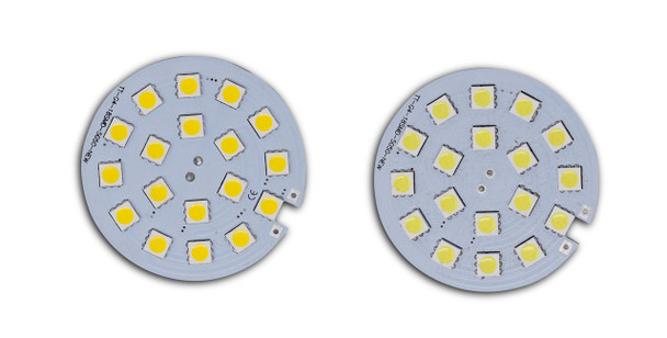 2 small round Emma 18SMD. Yellow lights on the the grey inside. On a white background.