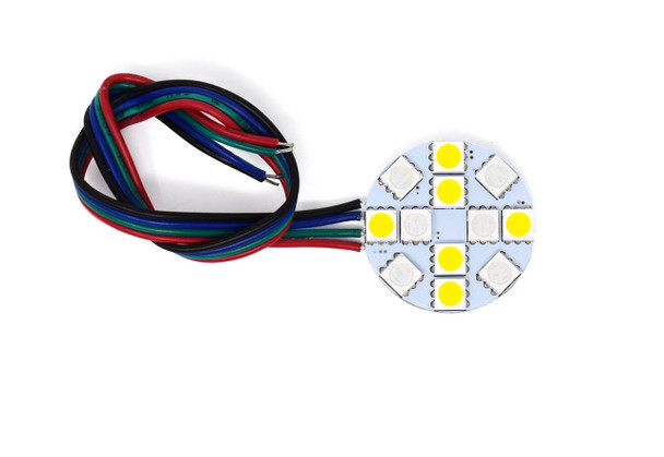 A circle PCB Phobos 12SMD. Yellow squares on the inside. Red and black wires coming from it. On a white background.