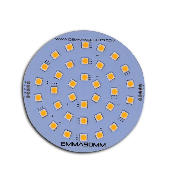 A grey circle Emma-36SMD-5050 WW. Many small yellow squares in the center. On a white background
