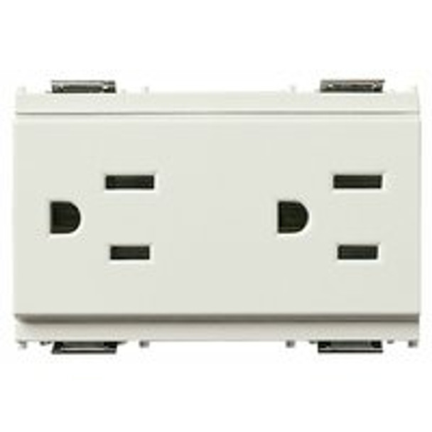 A white Double 2P+E 15A. Two outlets on both ends. Rectangle and on a white background