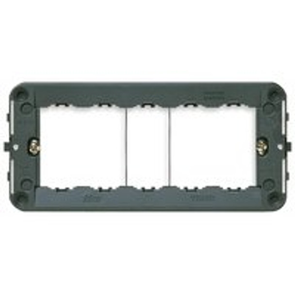 Grey rectangular  mounting frame plus screws on a  white background