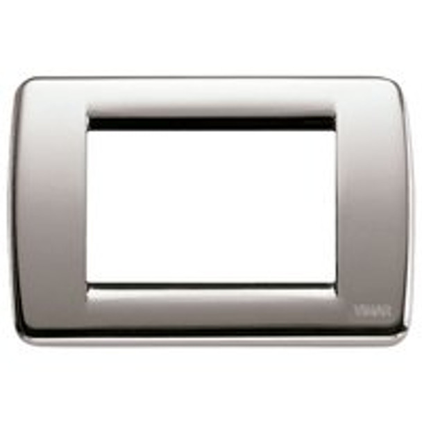 Shiny brushed nickle square plate cover on a white background