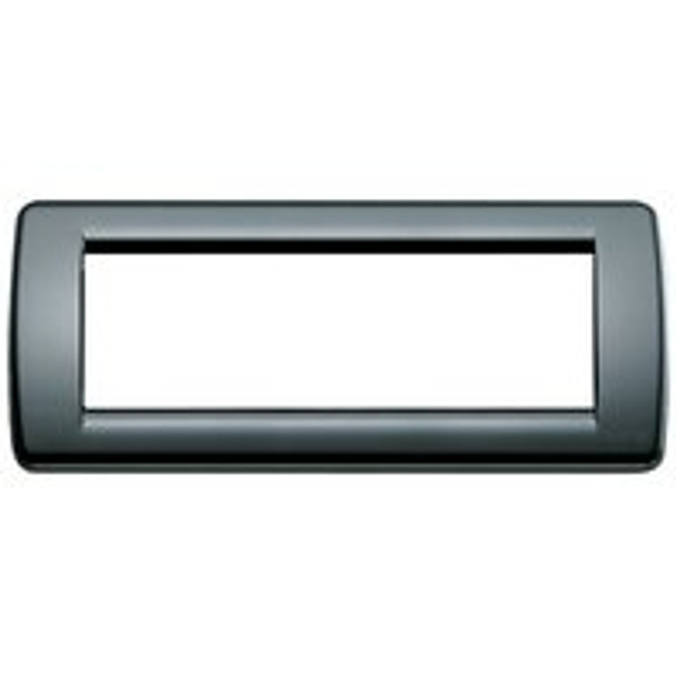 Skinny rectangular black plate cover  on a white background