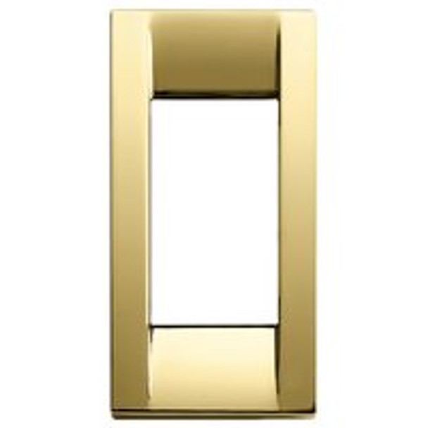 Long rectangular polished gold cover plate.  Has a slight shine. On white background.