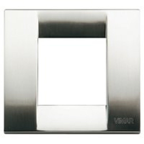 Brushed Nickle square cover plate cover. Shiny. On a white background