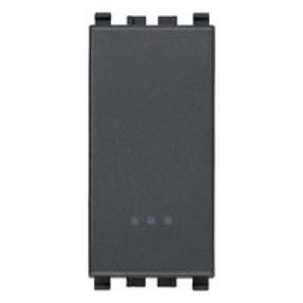Rectangle grey 1P 6AX 2-Way Switch . smooth blank front switch on a white background