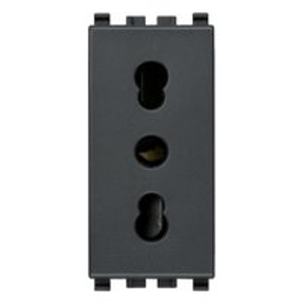 Rectangular 2P+E 16A Outlet grey smooth face outlet on a white background