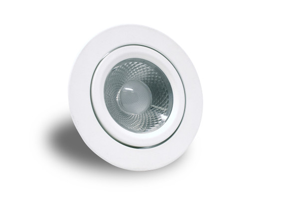 A round Voyager Light. White base with a clear lens and light inside. On a white background