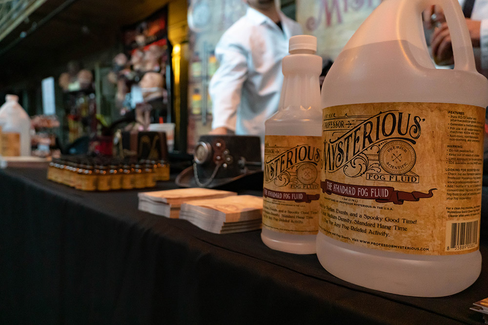 The Professor Mysterious Fog Fluid booth at the Ohio Halloween and Haunters Convention.