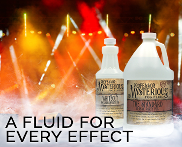 Professor Mysterious has a fog machine fluid for every effect.