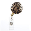 Gia Black and Gold Leopard Print ID Badge Reel