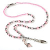 Pink and silver beaded lanyard with a Hope Angel charm