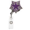 Purple Starshine ID badge reel with rhinestones