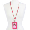 Pink and Gold Bella Wallet Lanyard Name Badge Holder