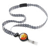 Be Grateful Checkered Ribbon Lanyard with Detachable Badge Reel