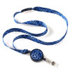 Blue bandanna print ribbon lanyard with retractable badge reel