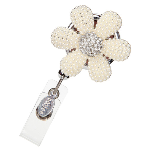 Daisy Flower Beaded ID Badge Reel