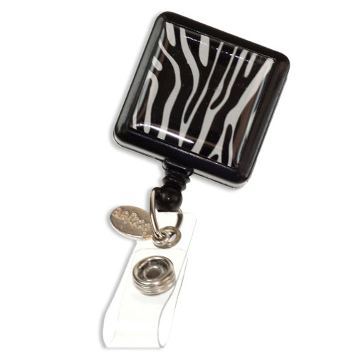 Zebra striped ID badge reel