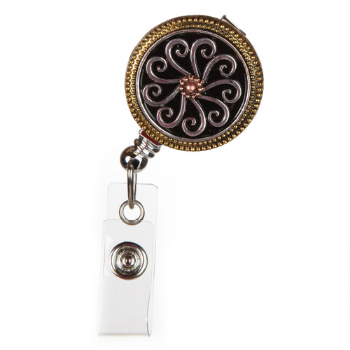 Tri-Metal Fashion ID Badge Reel