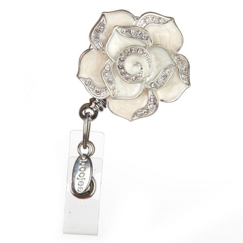 BooJee Beads White Enamel Rose Flower Fashion ID Badge Reel