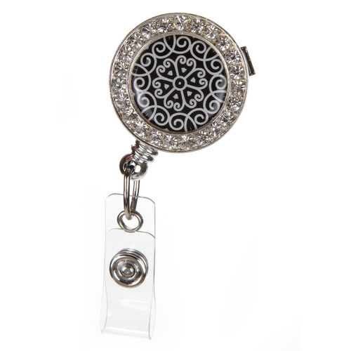 Scroll Pattern ID Badge Reel with Rhinestones
