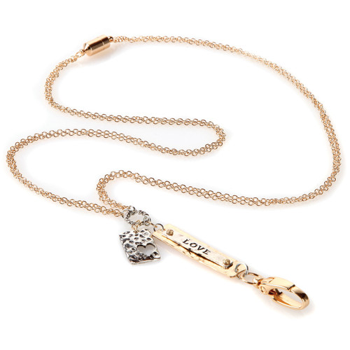 Love Gold Fashion Chain Lanyard with silver embellishment