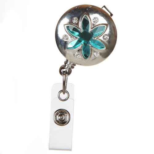 Agra Blue Flower Badge Reel