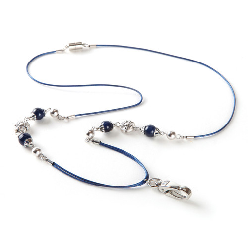 Blue Lapis Cord and  Beaded Lanyard