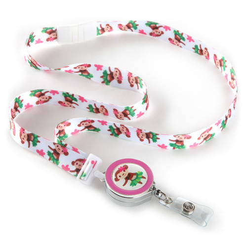 Hula Monkey Patterned Ribbon Lanyard