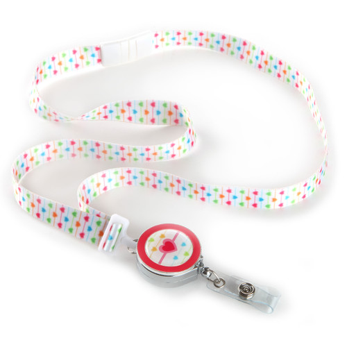 Mini Hearts Patterned Ribbon Lanyard