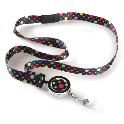 Polka Dotted Ribbon Lanyard with ID Badge Reel