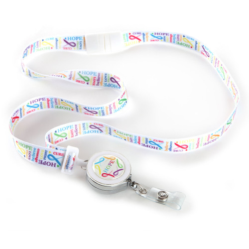 Love Cancer Awareness Ribbon Lanyard