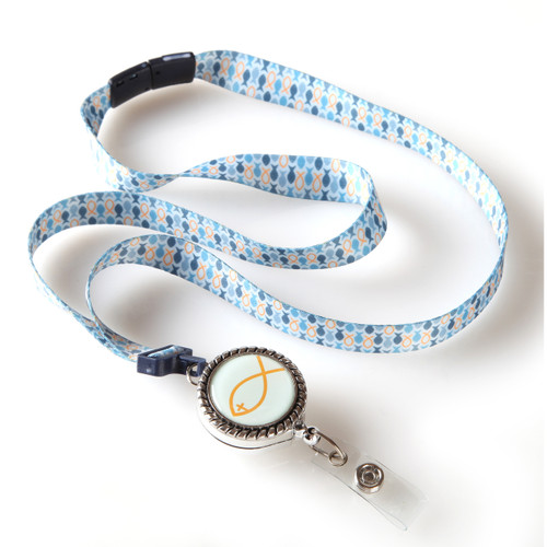 Fish Patterned Religious Ribbon Lanyard