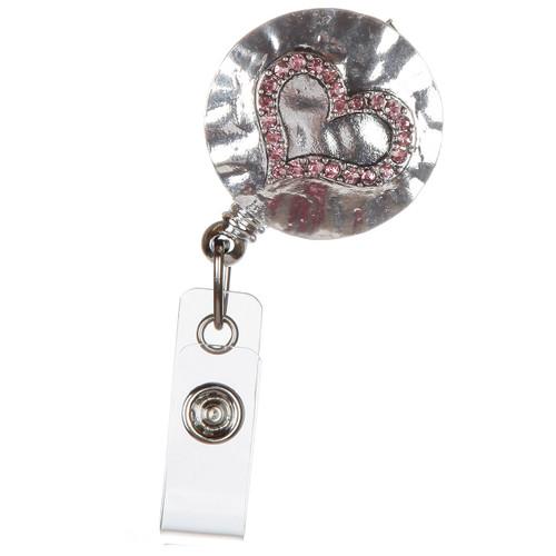 Hammered Heart Badge Reel