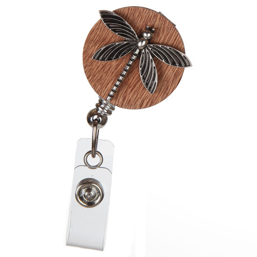 Metal Dragonfly on Wood ID Badge Reel